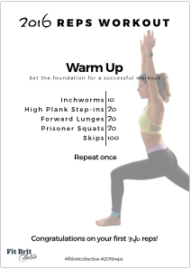 2016 Reps Workout: Warm Up Card